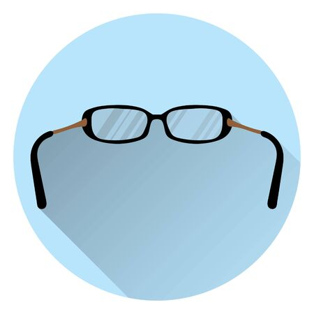 Eyeglasses for vision. On round blue background with shadow. Flat style, icon. 10 eps