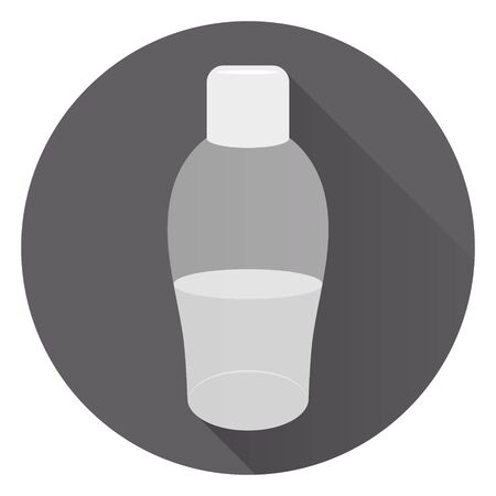 Transparent large bottle of liquid soap or body cream. Foam for a bath. On round dark background with shadow. Flat style, icon. 10 eps