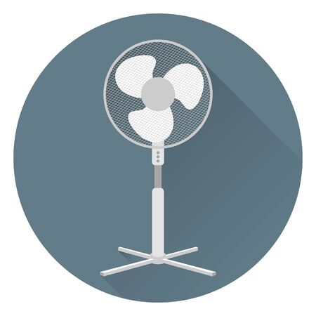 Outdoor fan for home or office. On a gray background, in flat style with shadow. Icon. 10 eps Çizim
