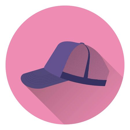 Purple sports retro baseball cap with mesh. On pink background, flat style, with shadow. Icon. 10 eps Illusztráció
