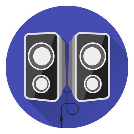Computer music speakers. On blue background, flat style, with glare and shadow. Icon. 10 eps Stock Illustratie