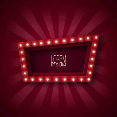 Advertising signboard, banner, emblem for attracting customers. A quadrangle, a trapezoid with glowing light bulbs along the contour, in red and white beams. Claret background. For your design. 10 eps Çizim