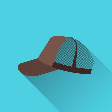 Baseball cap brown with mesh. Side view. On a blue background. Flat style. With a shadow. Old school. 10 eps