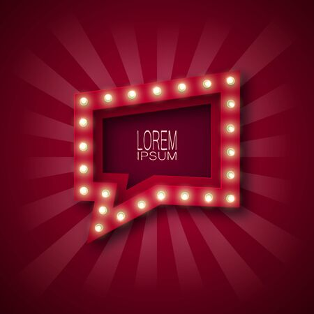 Advertising sign, banner to attract customers. Label, pointer with bulbs along the contour, in red and white rays. Burgundy background. For design. 10 eps