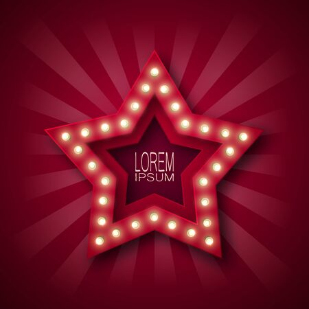 Advertising sign, banner to attract customers. Five-pointed star with bulbs along the contour, in red and white rays. Burgundy background. For your design. 10 eps