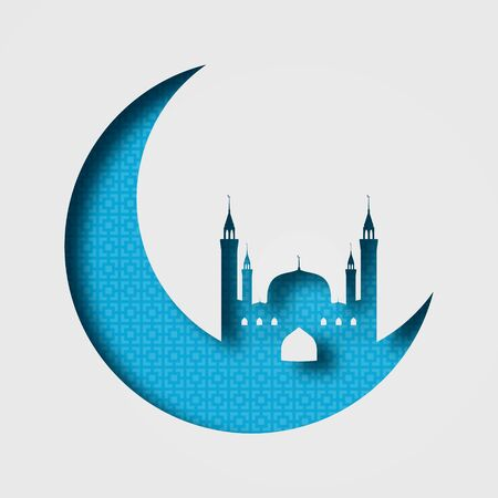 Ramadan Kareem, mosque on the moon. Blue tones, with a pattern. Paper style. Volumetric abstract illustration with shadows. 10 eps Illustration