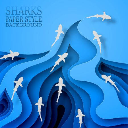 Floating sharks, paper style. Body wave, with shadows. Marine life, wildlife, predators went hunting. 10 eps