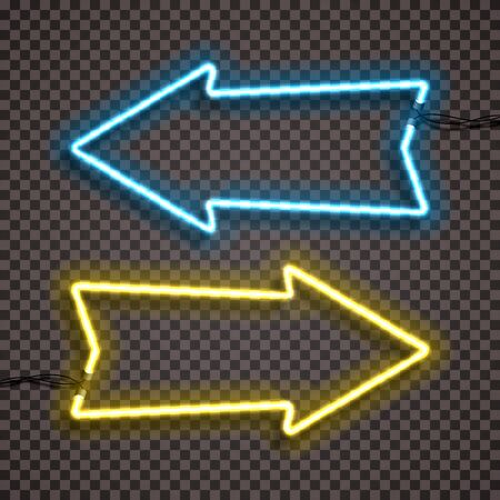 A set of two color variants of neon lamps with wires, shaped arrow pointer. Blue and yellow version. Isolated. 10 eps