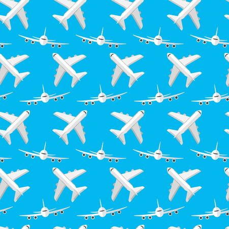 Seamless pattern for your ideas. Passenger plane in a flat style, front view, and in alternating view from above. Against the blue sky. 10 eps