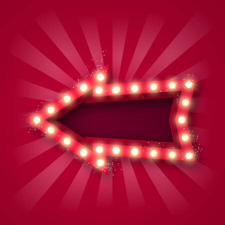 Advertising signboard for attracting customers. Arrow pointer with bulbs along the contour, in red-white rays and with sequins. On a pink background. 10 eps Çizim