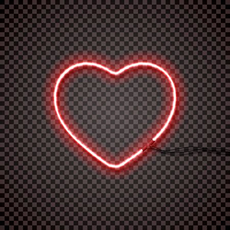 Red neon lamp with wires, heart shape. For your design. Isolated. 10 eps Illustration