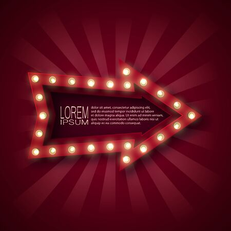 A promotional sign to attract customers. Arrow pointer with light bulbs on the contour, in red and white rays. On a claret background. 10 eps
