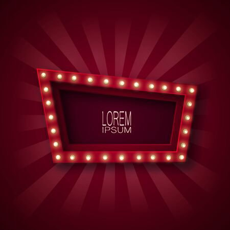 Advertising signboard for attracting customers. A quadrangle with light bulbs along a contour, in red and white light. On a claret background. 10 eps Çizim