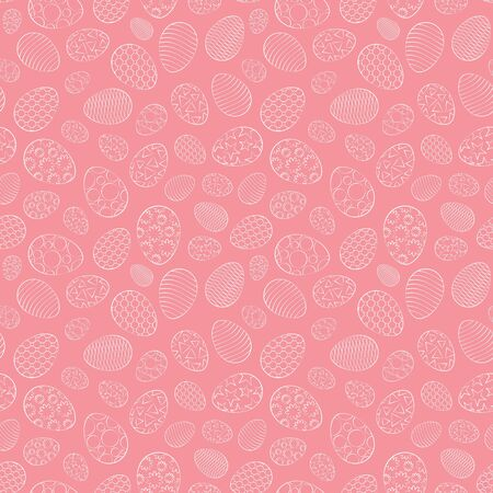 Easter seamless pattern, eggs with different ornament, on a pink background. 10 eps Çizim