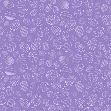 Easter seamless pattern, eggs with different ornament, on a purple background. 10 eps