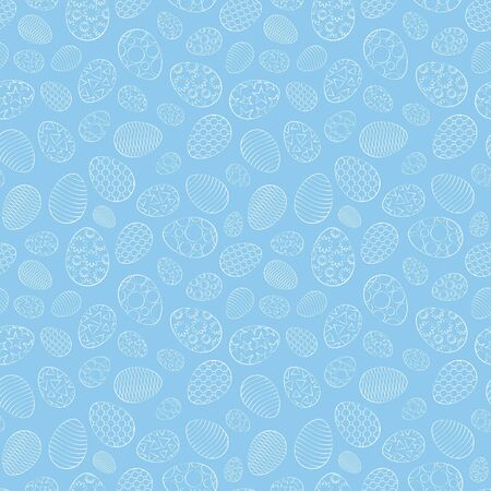 Easter seamless pattern, eggs with different ornament, on a blue background. 10 eps
