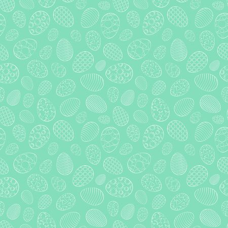 Easter seamless pattern, eggs with different ornament, on a green background. 10 eps