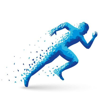 Polygonal athlete sprinter, starts. The blue triangles are scattered. On white background with shadow. For your design. 10 eps 스톡 콘텐츠 - 131349684