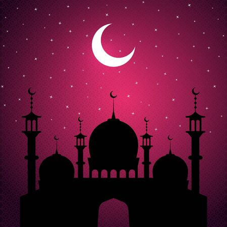 Ramadan Kareem, night, silhouette of mosque on purple background with ornament. The moon and the stars. 10 eps