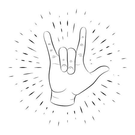Hand gesture, rock and roll of fingers, hand-drawn, outline, against a background of linear beams. For the design of posters, banners, logos. 10 eps