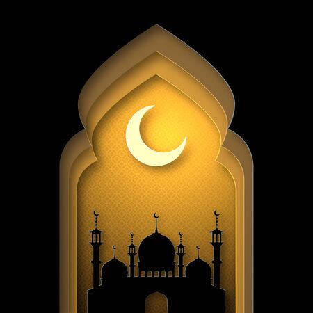 Ramadan Kareem, silhouette of the mosque. Paper style. Orange and gold shades. 10 eps Illustration