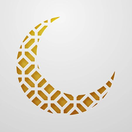 Ramadan Kareem, moon. paper style. Orange and gold shades with ornament. 10 eps