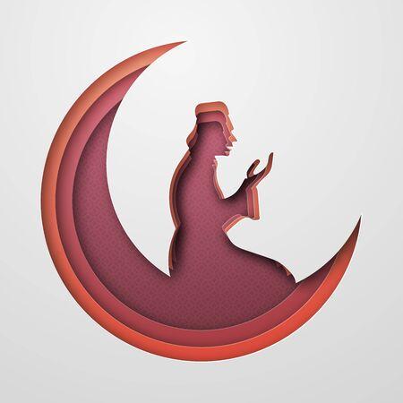 Ramadan Kareem, moon and the praying person. Paper style. Red, orange and burgundy shades. 10 eps Çizim