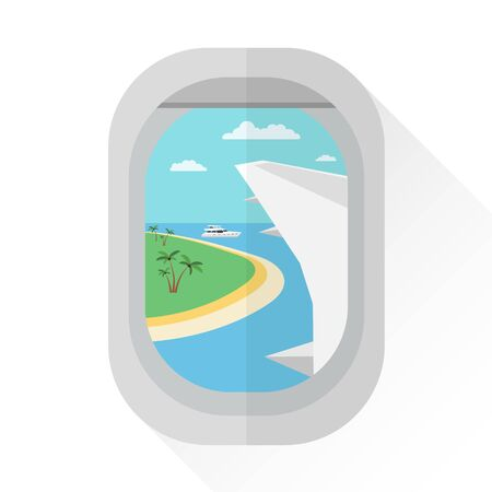 View from the porthole of a passenger plane to an island with palm trees and a yacht. Wing of the plane. 10 eps 向量圖像