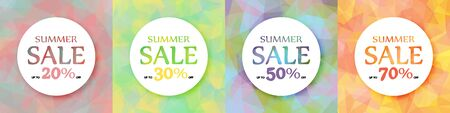 A set of round colorful advertising banners. Discount of 20, 30, 50, 70%. Summer action. 10 eps  イラスト・ベクター素材