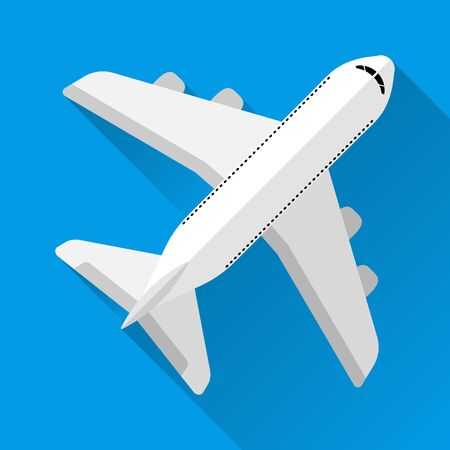 Passenger plane, top view, blue background, with shadow. Flat style. 10 eps Иллюстрация