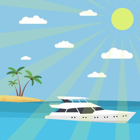 A yacht in the sea against the backdrop of an island with palm trees. The rays of the sun and clouds in the sky. Flat style. 10 eps