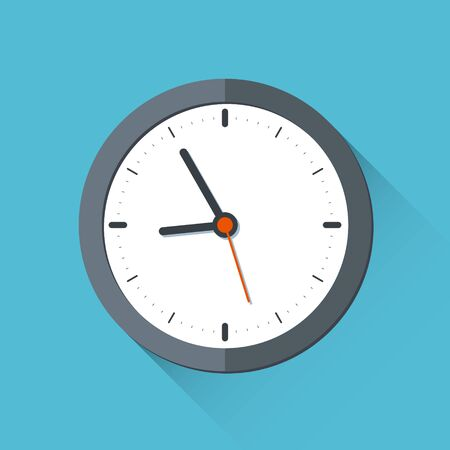 Wall clock in flat design style. 10 eps