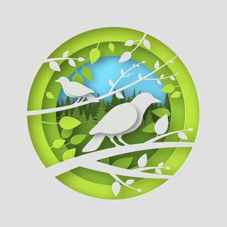 Birds of paper with shadows in a round slot. Leaves of trees. Against the background of a coniferous forest. In green colors. 10 eps