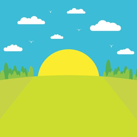 Morning sunrise. The sun rises from behind the forest against a blue sky with clouds and birds. Flat style. 10 eps