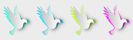 Set of multi-colored pigeons made of paper with shadows. 10 eps