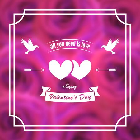 Greeting card for valentines day. Banner, poster. Pigeons, hearts, arrows. On a background of blurry pink roses. In frame. 10 eps