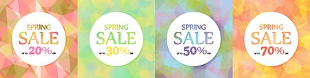 Spring discounts, sale. A set of four. White circles on a background of multicolored triangles, polygons. 10 eps  イラスト・ベクター素材