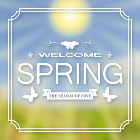 Banner, poster for design. Hi spring. Welcome. Against the background of a blurry sky, a green lawn, and the sun. In frame. 10 eps Çizim