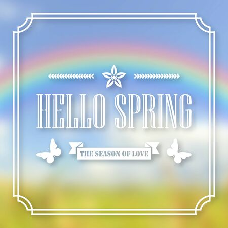 Banner, poster for design. Hi spring. Welcome. Against the background of a blurry sky, a green lawn, and a rainbow. In frame. 10 eps