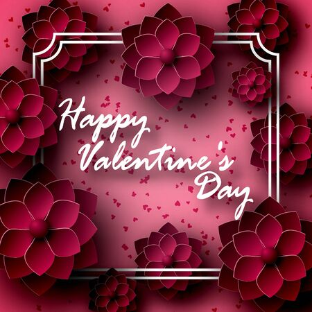 Greeting card for St. Valentines Day. The 14 of February. Flowers, roses are dark red, in paper style, origami. Volume with shadow. In a frame with an inscription on the center. For recognition. 10 eps