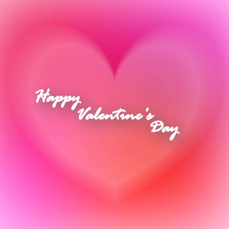 Greeting card for St. Valentines Day. Heart and background with blur effect. Soft pink calm tones. And the inscription on the center. 10 eps Çizim
