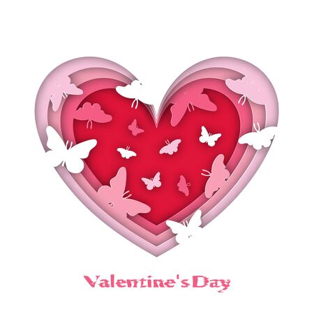 Greeting card for Valentines Day. Volumetric hearts, with butterflies, Origami, paper style. On a white background. 10 eps