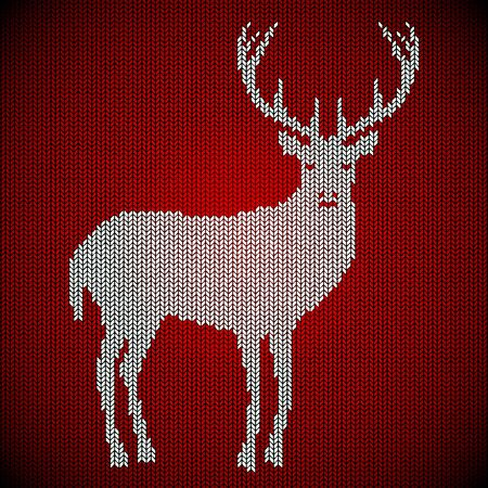 Celebratory background knitted from wool. Carpet, sweater. White deer on a red background. It warms in winter. eps 10 Çizim