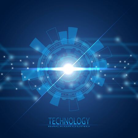 Abstract circle. 21 century. The era of new technologies. On a blue background. It is suitable for registration of shops of computer equipment, robotics and electronics. eps 10