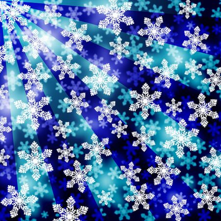 Christmas background. Snowflakes with a focusing effect in front of blue and stripes. eps 10