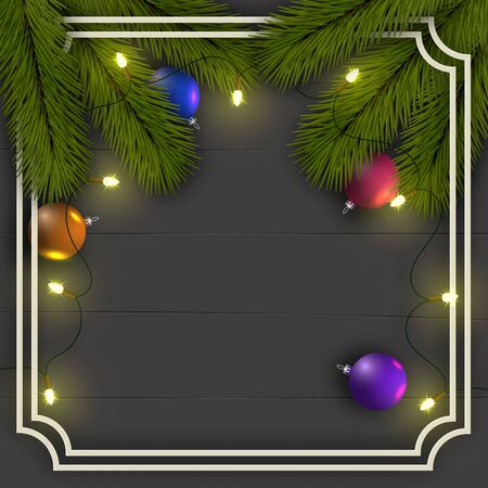 Christmas background. Frame of Christmas tree branches. With a garland of lights and shiny balls. Eps 10