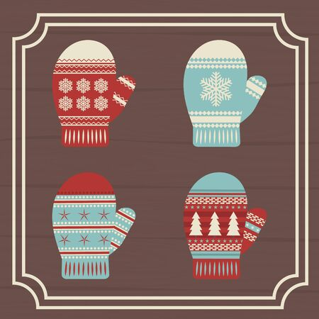 A set of mittens. Gloves. Against the background of wooden boards, framed. Christmas mood. eps 10
