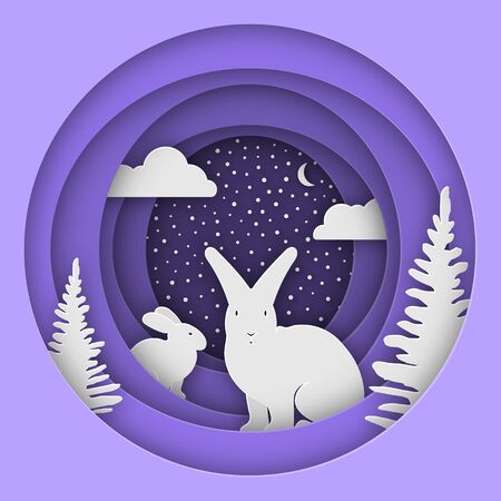 Hares in the forest in the snow. Christmas, New Years illustration. Paper style. Eps 10 Çizim