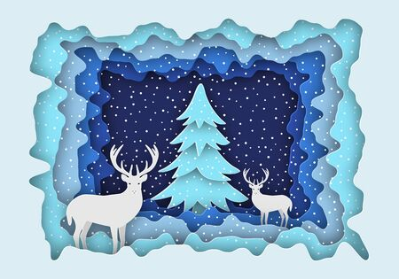 Deer in the forest in the snow, next to the Christmas tree. New Years illustration. Paper style. Eps 10