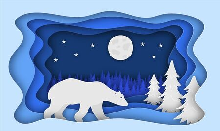 Polar bear, against the backdrop of a forest of Christmas trees. Paper style. Christmas illustration. Eps 10 Çizim